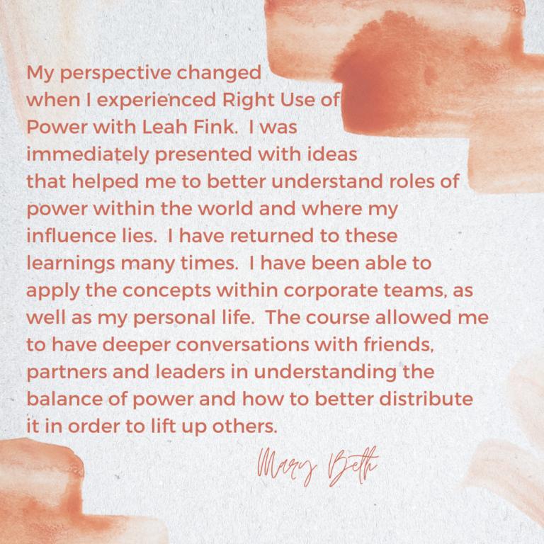Mary Beth Testimonial Leah Fink All Thrive